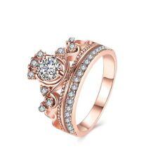 18K Rose Gold Plated Rhinestone Crown Ring/Thumb Ring Women Fashion Jewelry *UK*