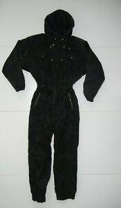 Vtg 90s NILS All-Black Nylon Warm INSULATED SNOW SUIT Ski Jacket Pants Women 12