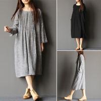 ZANZEA 8-24 Women Autumn Long Sleeve Kaftan Caftan Basic Plus Size Midi Dress
