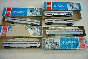 VINTAGE CON-COR HO SCALE Amtrak 5 Car Lot Sleeper Baggage Dome