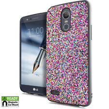 For LG Stylo 3 Stylo 3 PLUS Chunky Glitter Magnetic Back Plate Hybrid Case Cover