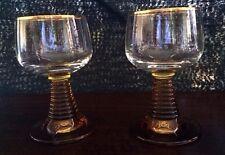 Vintage Amber Stem Liquor Wide Mouth Glasses w/Gold Trim.No Chips or Cracks