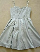 SEXY H&M HENNES GREY SILVER LACE TOP BANDEAU SHORT PROM DRESS SIZE 10 12 38 VGC