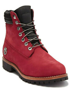 "Timberland Exclusive Mens 6"" Inch Heritage Boots Dark Red Nubuck Leather Size 11"