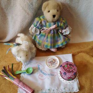 MUFFY VANDERBEAR HAPPY BIRTHDAY LOT, BEAR, LULU DOG, CAKE, PLATES, SPOONS, CLOTH