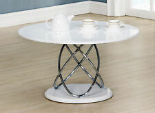 Coffee Table White Gloss Round Top Chrome Spiral Frame White Base
