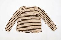 Cotton Traders Womens Size 16 Striped Cotton Brown Long Sleeve T-Shirt (Regular)
