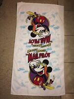 Vintage 1980's Mickey Mouse The Mail Pilot Cotton Beach Towel Walt Disney Co