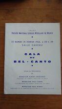 Théatre national lyrique populaire de france - 1966 Gala de Bel canto