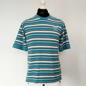 Adidas Vintage Striped Blue White & Black Knit T-Shirt UK Size Medium 1/3 Sleeve