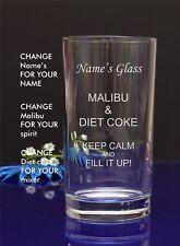 Personalised Engraved Hi ball Tumbler mixer spirit MALIBU AND DIET COKE glass 21