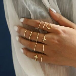 11pcs/Set Simple Heart Round Knuckle Midi Finger Tip Rings Set Women Jewelry New