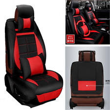 5-Seats PU Leather Car Seat Covers Front+Rear With Pillows& Steering Wheel Cover