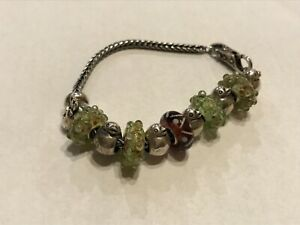 Trollbeads bird theme with sterling bracelet and charms with multi glass beads