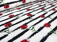 Stoff Baumwolle Jersey Rosen Blumen Streifen weiss rot grün schwarz gestreift