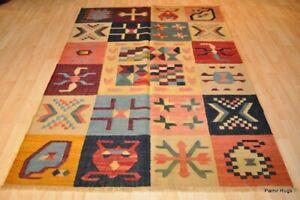 Kilim rug 5x7 contemporary One of a Kind Keilem handmade oriental, colorful.