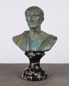 Trajan Bust Statue (Green Bronze) - Made in Europe (4.7in / 12 cm)