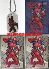 Deadpool Dog Tag + 2 Base Cards & 1 Foil Card - Upper Deck Marvel Dossier