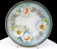 "PROV SAXE ES GERMANY ENAMEL FLORAL AND GOLD 8 1/2"" CABINET PLATE"