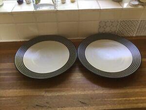 Denby Intro Black Stripes- Dinner Plates X2.