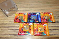 5 Minidisc  MD-W 74 AL Sony 74 Min 5 er Set Topaz Yello Color + Box. Neu  (6-K)