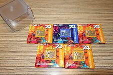 5 Minidisc  MD-W 74 AL Sony 74 Min 5 er Set Topaz Yello Color + Box. Neu  (6-K)