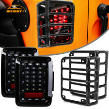 07-17 Jeep Wrangler LED Tail Lights JK Rear Brake Reverse W/ Guard Covers Trims