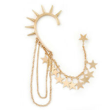 One Piece Gold Plated Spike & Star Chain Hook Cuff Earring - 8cm (chain drop