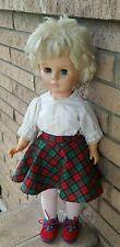 """Vintage Walking Doll 24"""" Vinyl bleach blonde cropped haired dressed school girl"""