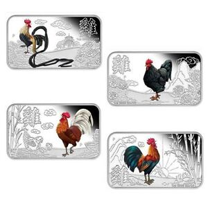 2017 YEAR OF THE ROOSTER LUNAR CALENDAR 1OZ SILVER PROOF 4-COIN SET Rectangular