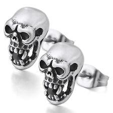 MENDINO Men's Stainless Steel Stud Earrings Skeleton Skull Head Punk Silver Tone