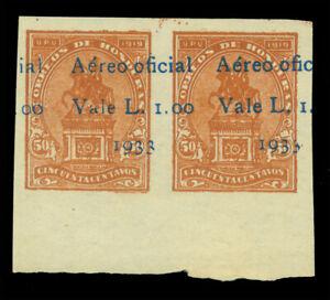 HONDURAS 1933 AIRMAIL OFFICIALS L.1.00/50c brown IMPERF PAIR ERROR - UNISSUED NH