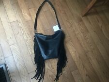 Trina Turk NWT Black Fringe  Leather Hobo shoulder /Crossbody bag Retail $348