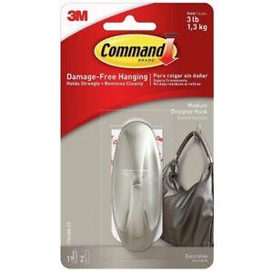3M Command Medium Hook Decorative Designer Hook Hanger 17081 New, Brushed Nickel