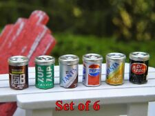 "6 PIECE SET OF SODA CANS 1/2"" Dollhouse Miniature or FAIRY GARDEN 1:12 SCALE NIP"