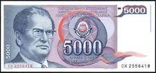 Billete De 1985 de Yugoslavia 5000 DINARA * CK 2556418 * FMAM * P-93 *
