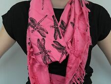 Pink dragonfly print, upcycled, infinity scarf, tasselled scarf ,* great gift*