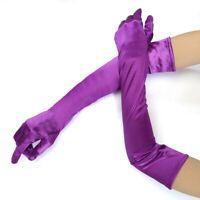 Long Stretch Satin Bridal Wedding Prom Dress Halloween Costume Opera Gloves US