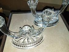 Vintage Lead Crystal Double Candlestick Holder Set