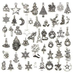 50PCS/Set Bulk Lots Tibetan Silver Mix Christmas Pendants Charms JewelrODFS ZH