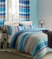 Catherine Lansfield Textured Stripe Teal Blue Duvet Quilt Cover Striped Bedding