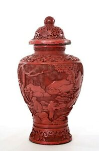 1900's Chinese Cinnabar Lacquer Deeply Carved Carving Covered Jar Vase Figure