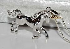 9ct Gold & Sterling Silver Unicorn Pendant / Necklace