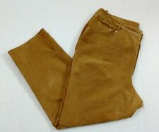 Newport News Easy Style Women's Leather Pants Size 20W Brown Lined