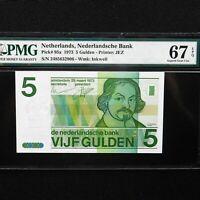 1973 Netherlands 5 Gulden, Pick # 95a, PMG 67 EPQ Superb Gem Unc.