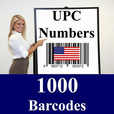 1000 UPC Barcodes 1,000 Amazon Codes Numbers - Real GS-1 -Don't buy fake numbers
