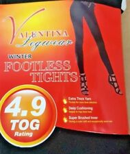 WOMENS BLACK THERMAL FOOTLESS TIGHTS FLEECE LINED FOR WARMTH SOFT AND COSY 8-14