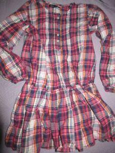 euc Gap Kids navy crimson plaid pintuck tunic top girls S ~ 7 8  top