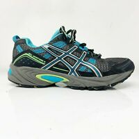 Asics Womens Gel Venture 4 T383N Black Blue Green Running Shoes Lace Up Size 6.5
