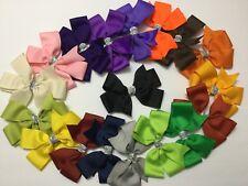 "LOT OF 12 Girl's 5"" Inch HAIRBOWS Hair Bows  -Handmade random Colors"